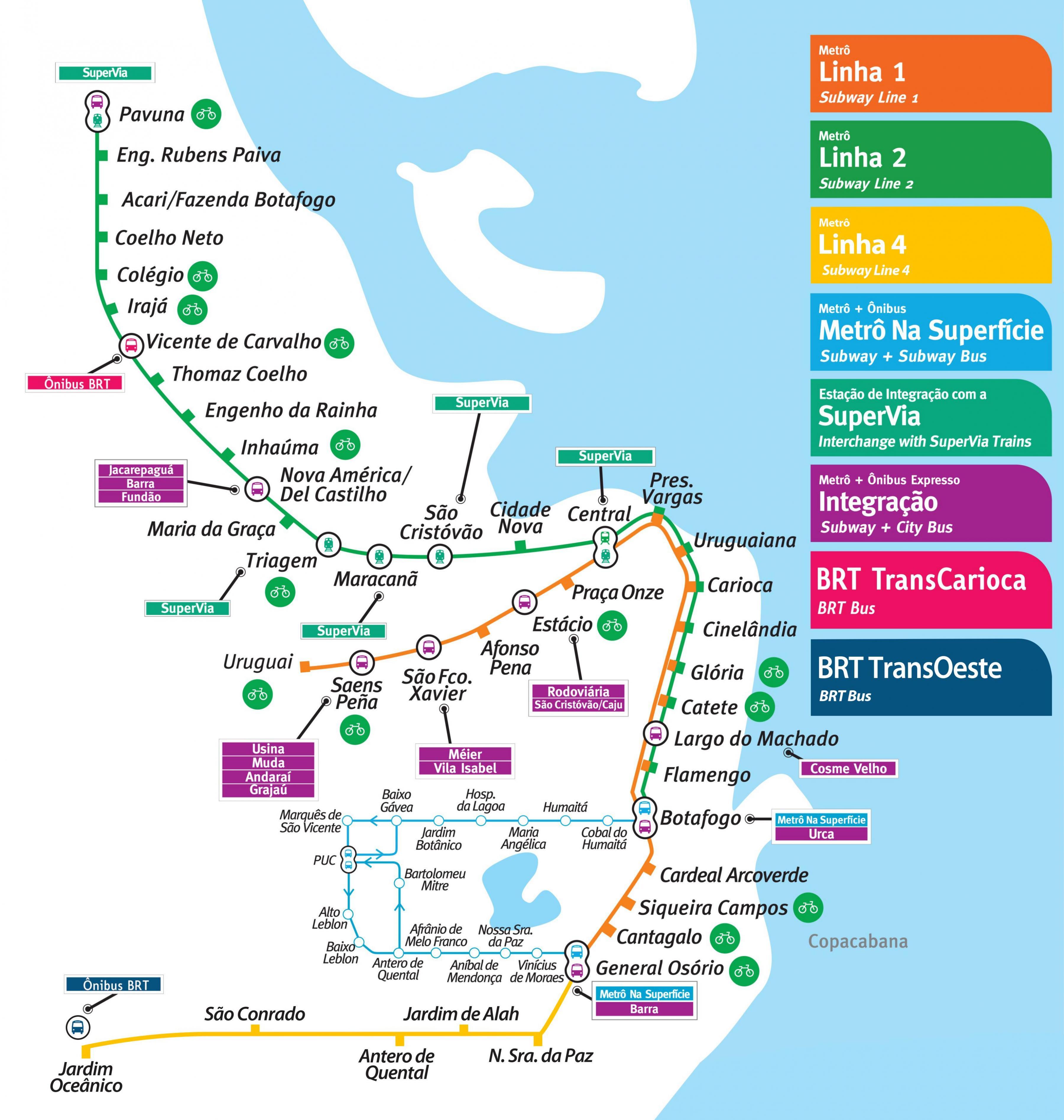 metro rio de janeiro mapa Rio de Janeiro metro mapa   Mapa Rio de Janeiro metro (Brésil) metro rio de janeiro mapa